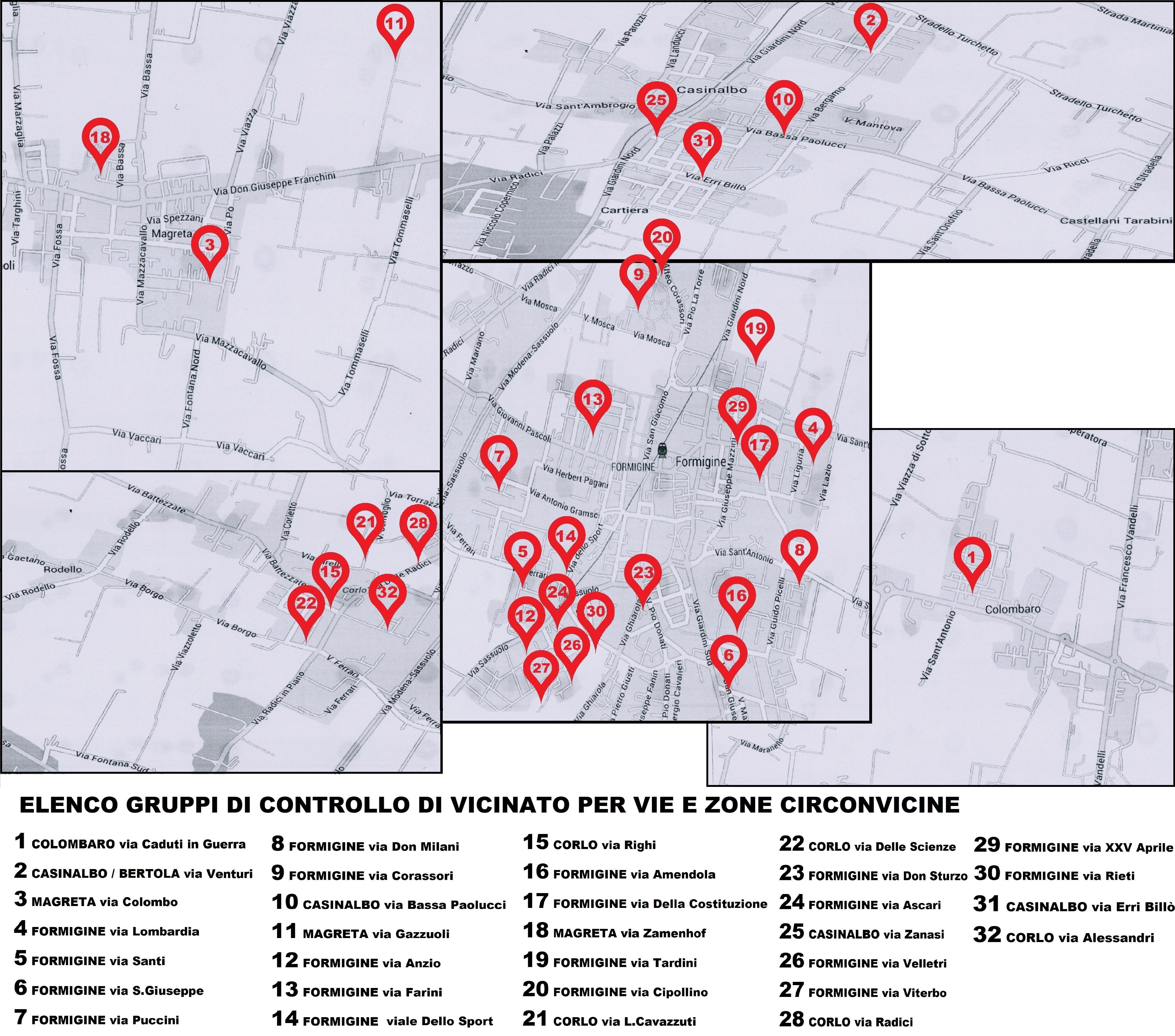 Mappa dei gruppi di controllo di vicinato per vie e zone circonvicine